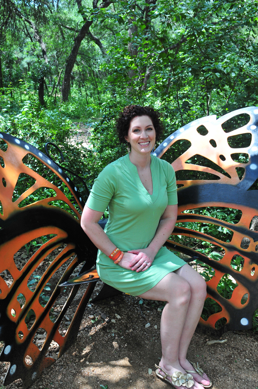amber butterfly bench